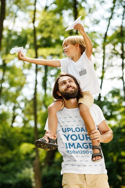 T-Shirt Mockup Featuring a Father Carrying His Son on His Shoulders 34086-r-el2