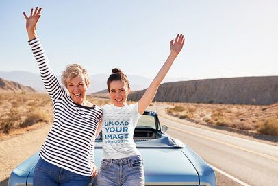 T-Shirt Mockup of a Woman and Her Mom at the Road by an Old Convertible 34252-r-el2