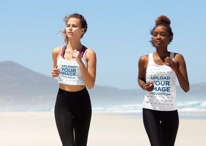 Tank Top Mockup of a Woman Running with Her Friend on the Beach 34074-r-el2