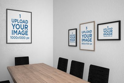 Mockup of Four Art Prints in a Minimal Dining Room 3927-el1