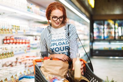 T-Shirt Mockup of a Woman Doing Grocery Shopping 34119-r-el2
