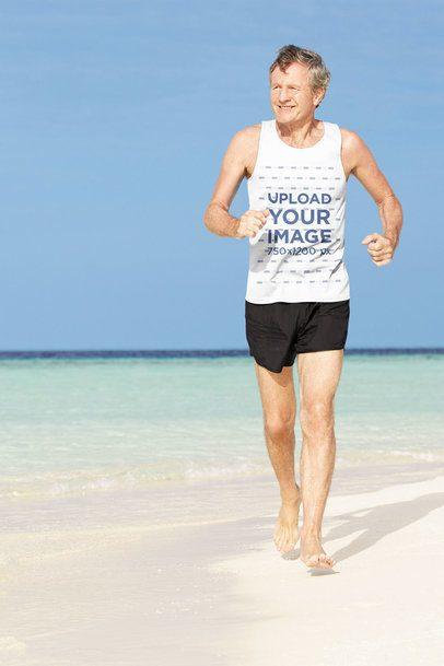 Mockup of an Elderly Man Running by the Beach with a Tank Top 34192-r-el2