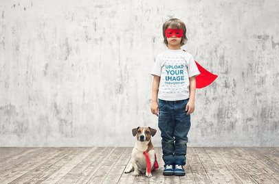 T-Shirt Mockup of a Kid and His Dog in Superhero Costumes 34240-r-el2