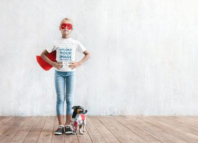 T-Shirt Mockup of a Superpowerful Girl and Her Dog Assistant 34238-r-el2