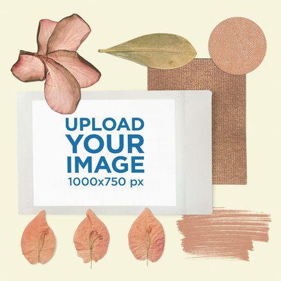 Moodboard Mockup of an Instant Picture Surrounded by Flowers 3861-el1