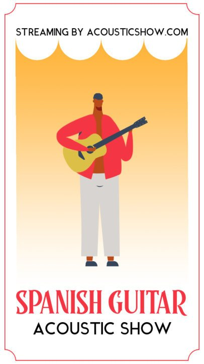 Instagram Story Template for an Online Concert Featuring a Guitarist Illustration 1360b-el1