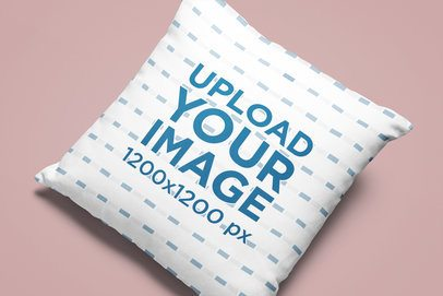 Mockup of a Squared Sublimated Pillow in a Minimalist Setting 25638