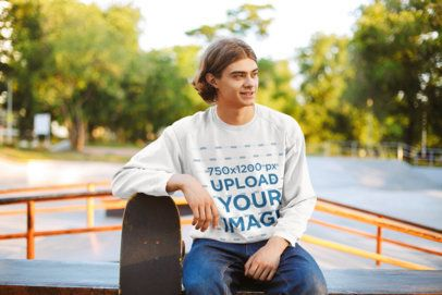 Crewneck Sweatshirt Mockup of a Man Leaning on His Skateboard 34031-r-el2