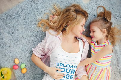 Tank Top Mockup of a Mother with Her Daughter 34219-r-el2
