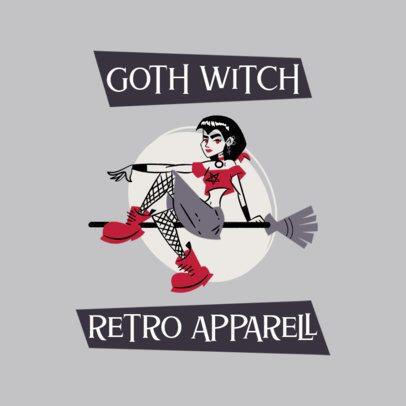 Retro Apparel Logo Template with a Goth Witch Cartoon 3227e