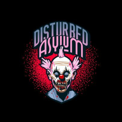 Logo Maker for a Horror Game Featuring a Clown with a Deformed Face 3233f
