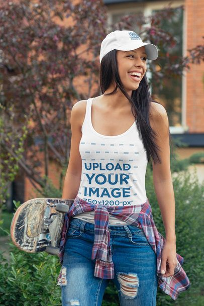 Dad Hat Mockup of a Skater Woman Wearing a Tank Top 34052-r-el2