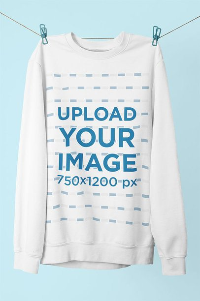 Mockup of a Round Neck Sweatshirt Hanging on a String 33987