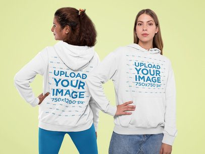 Front and Back Mockup of Two Friends Wearing Hoodies at a Studio 31972