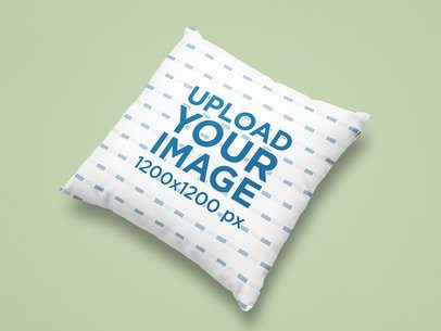 Mockup of a Sublimated Square Pillow on a Flat Surface 25331
