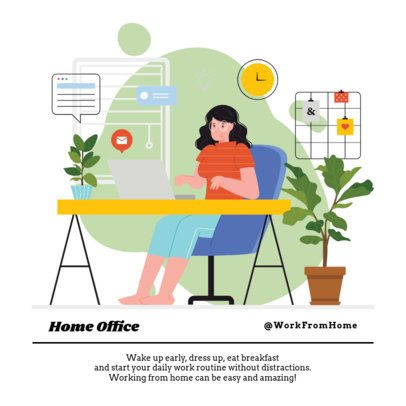 Instagram Post Maker Featuring Work From Home Illustrations 1372-el1