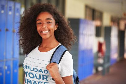 T-Shirt Mockup of a Curly Haired Teen at School 34242-r-el2