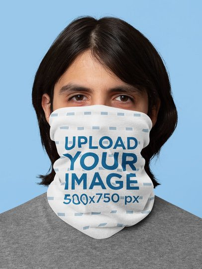 Mockup of a Long Haired Man Wearing a Neck Gaiter 36065