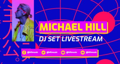 Twitch Banner Template with Neon Colors for a DJ Livestream 2523a