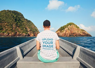 Back View T-Shirt Mockup of a Man in a Boat 34402-r-el2