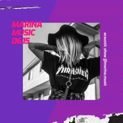 Music Instagram Post Design Template with a Cool Neon Background 2517j