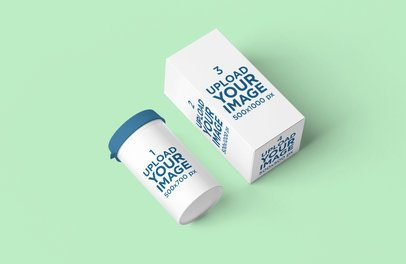Pills Bottle Mockup Featuring a Small Box and a Solid Color Background 4087-el1