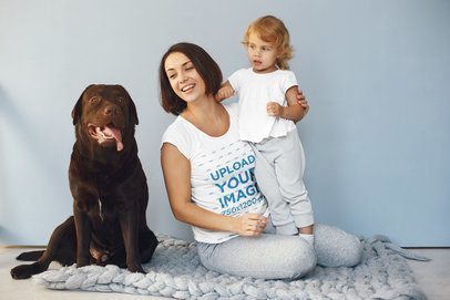 Tee Mockup of a Woman with Her Baby and Her Dog 34233-r-el2