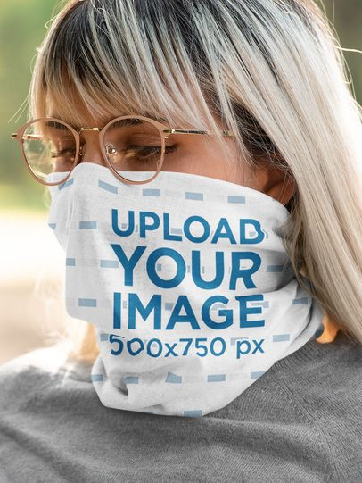Mockup of a Woman with Glasses Wearing a Neck Gaiter 36138