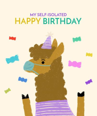T-Shirt Design Creator with a Self-Isolated Birthday Llama 2528e