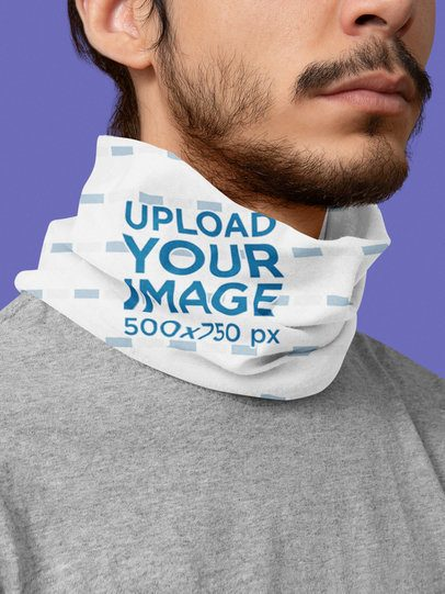 Mockup of a Bearded Man with a Tubular Bandana on His Neck 36081