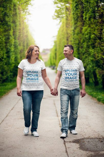 T-Shirt Mockup of an Adult Couple Holding Hands 34268-r-el2