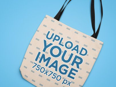 Closeup Mockup of a Tote Bag on a Flat Surface 25526