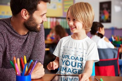 Tee Mockup of a Kid in Classroom with His Dad 34246-r-el2