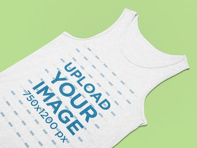 Flat Laid Mockup of a Basic Tank Top Placed on a Plain Surface 25582