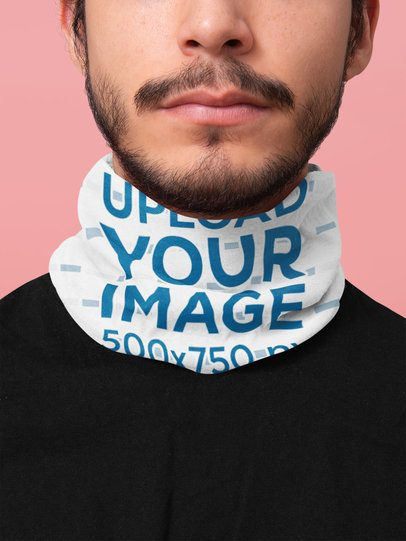 Mockup Featuring a Bearded Man Wearing a Tubular Bandana 36080