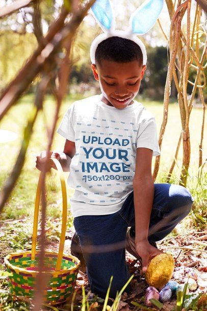 T-Shirt Mockup of a Boy Hunting Eggs 34254-r-el2