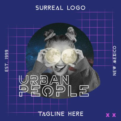 Logo Template with Bizarre Collage Graphics 3256a