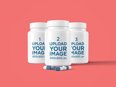 Mockup Featuring Three Customizable Pill Bottles 4049-el1