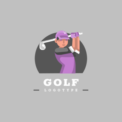 Golf Logo Template Featuring a Female Golf Player 1455b-el1
