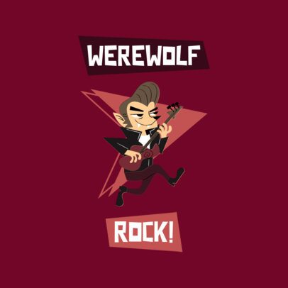 Logo Template with a Rock and Roll Werewolf Character 3227k