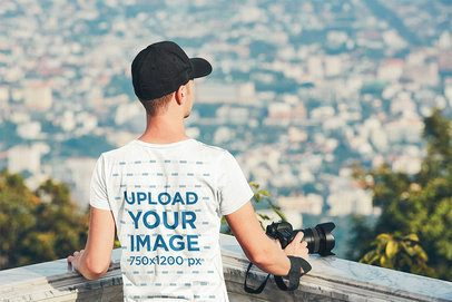 Back-View Mockup of a Man with a Tee Admiring a View 34303-r-el2