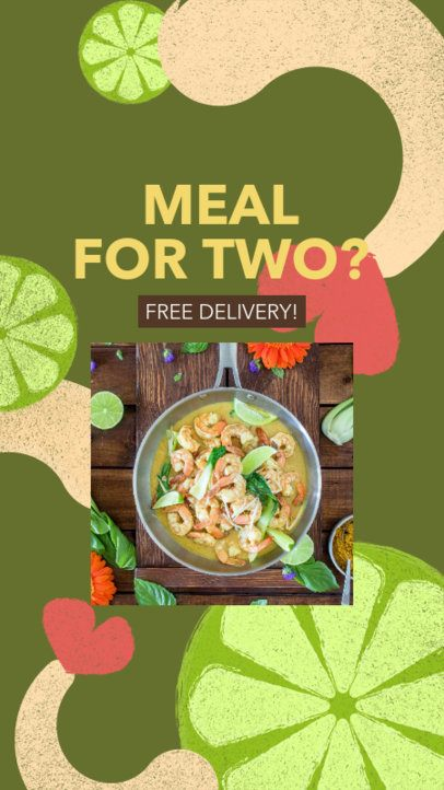 Instagram Story Design Template for a Free Food Delivery 2525h