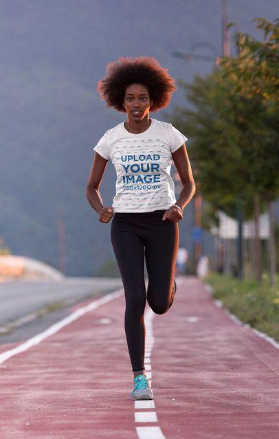 T-Shirt Mockup of a Female Runner on a Track 34351-r-el2