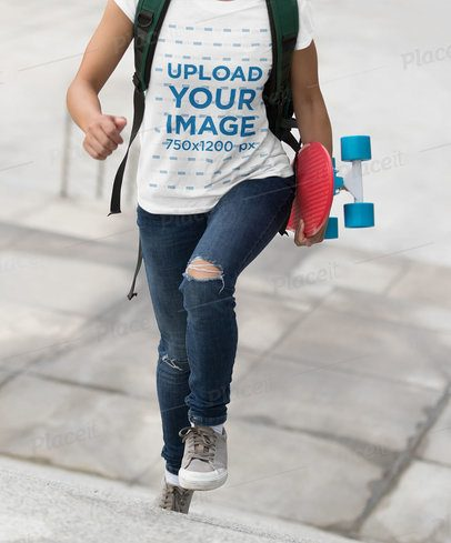 T-Shirt Mockup of a Woman with a Skateboard 34566-r-el2