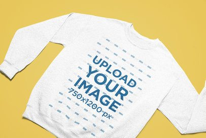 Round Neck Sweatshirt Mockup Placed Facing Front on a Solid Surface 25567