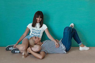 T-Shirt Mockup of an LGBT Couple Talking at Home 34014-r-el2
