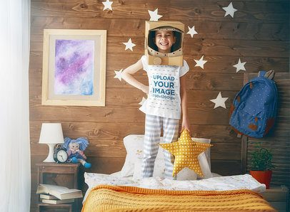 T-Shirt Mockup of a Little Girl Dressed as an Astronaut 34571-r-el2