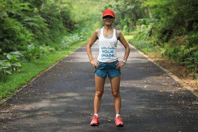 Tank Top Mockup of a Female Runner on a Bushy Road 34561-r-el2