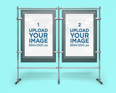 Mockup Featuring Two Poster Displays and a Customizable Background 4154-el1