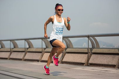 Mockup of a Woman Running with a Long Tank Top 34568-r-el2